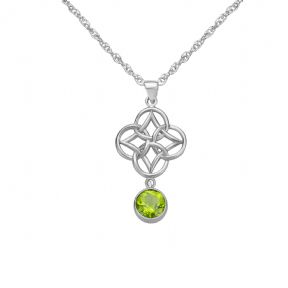 Celtic Knot Silver Pendant with Peridot 9346